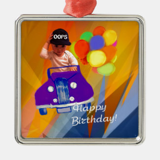 Sorry I forgot your birthday. Silver-Colored Square Ornament