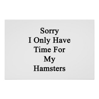 Sorry I Only Have Time For My Hamsters Poster