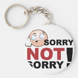 Sorry Not Sorry Cartoon Character Basic Round Button Keychain