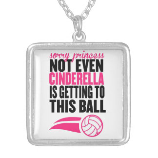 Sorry Princess Volleyball Ball` Silver Plated Necklace
