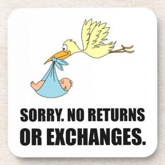 Sorry Returns Exchanges Stork Baby Coasters