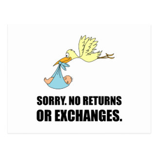 Sorry Returns Exchanges Stork Baby Postcard