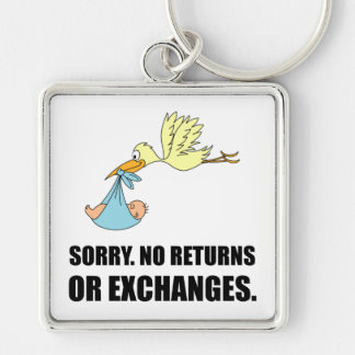 Sorry Returns Exchanges Stork Baby Silver-Colored Square Keychain