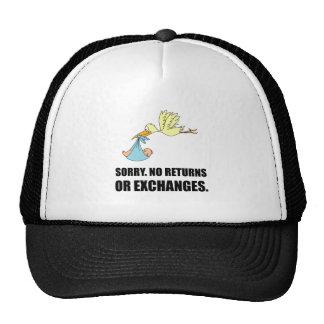 Sorry Returns Exchanges Stork Baby Trucker Hat