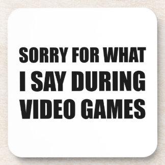 Sorry Say Video Games Beverage Coasters