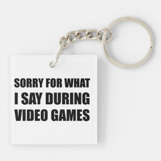Sorry Say Video Games Double-Sided Square Acrylic Keychain