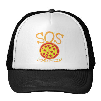 SOS! Send PIZZA! with yummy pepperoni pizza slice Trucker Hat