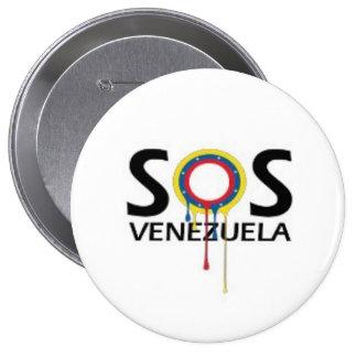 SOS Venezuela 4 Inch Round Button