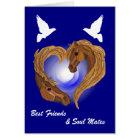 Soul Mated Heart Horse Head Card