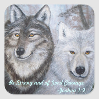 Soul Mates Wolves by Lori Karels Square Sticker