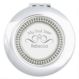 "SOUL-SISTER-""MONOGRAM NAME "" Round* Silver Makeup Mirror"