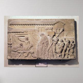 Soulagement dépeignant Dionysus à la maison de Poster