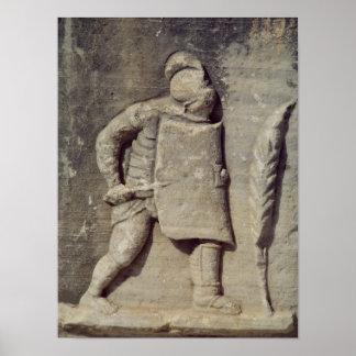 Soulagement dépeignant un soldat romain poster