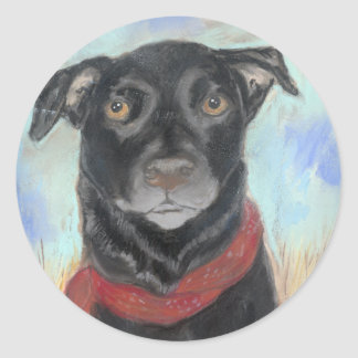 Soulful Black Lab Pastel Classic Round Sticker