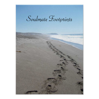 Soulmate Footprints Together in the Sand Poster