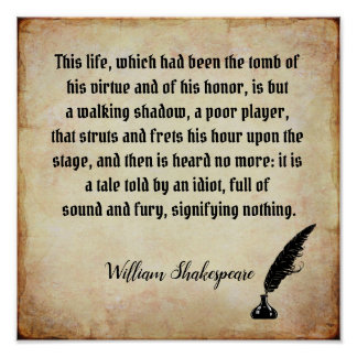 Sound and Fury - Shakespeare quote print