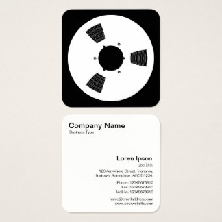 Sound Tape Spool - White on Black Square Business Card