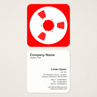 Sound Tape Spool - White on Red Square Business Card