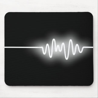 Sound Wave - White on Black Mouse Pad