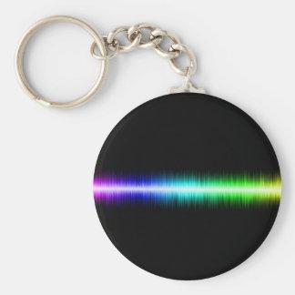 Sound Waves Design Basic Round Button Keychain