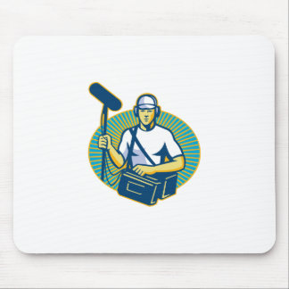 soundman worker with microphone retro mouse pad