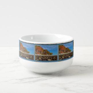 Soup Mug Elegant Seashore Tree Line Stones pattern