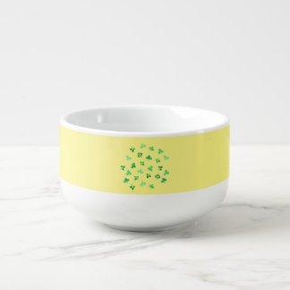 Soup mug with clover leaves