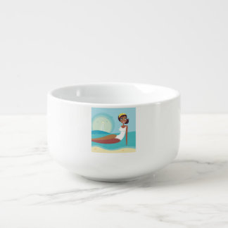 Soup mug with vintage Girl