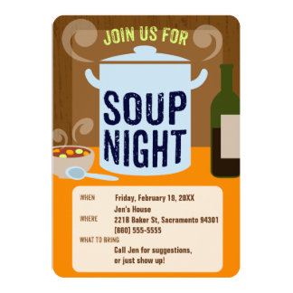 Soup Night Casual Dinner Party Card