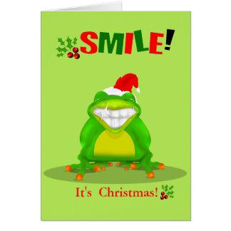 Sourire drôle sa carte de voeux de grenouille de