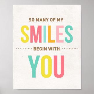 Sourires inspirés de citation d'impression d'art poster