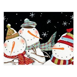 Sourires modernes de bonhommes de neige carte postale