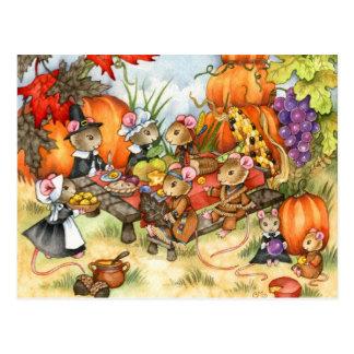 Souris de thanksgiving - cartes postales mignonnes