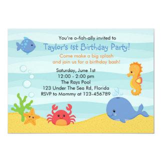 Sous l'invitation d'anniversaire de mer (garçons) carton d'invitation  12,7 cm x 17,78 cm