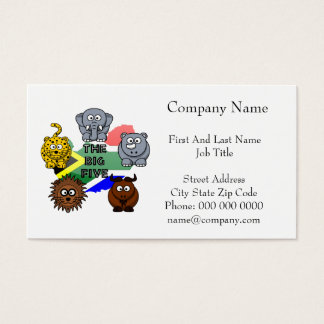 South Africa Big Five Cartoon Illustration Business Card