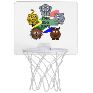 South Africa Big Five Cartoon Illustration Mini Basketball Hoop