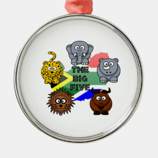 South Africa Big Five Cartoon Illustration Silver-Colored Round Ornament