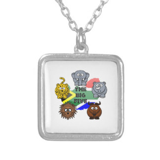 South Africa Big Five Cartoon Illustration Silver Plated Necklace