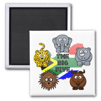 South Africa Big Five Cartoon Illustration Square Magnet