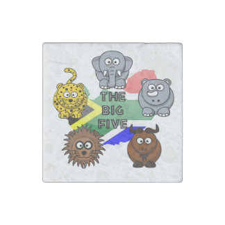 South Africa Big Five Cartoon Illustration Stone Magnets