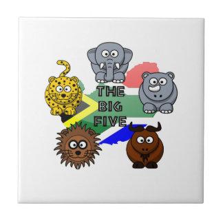 South Africa Big Five Cartoon Illustration Tile