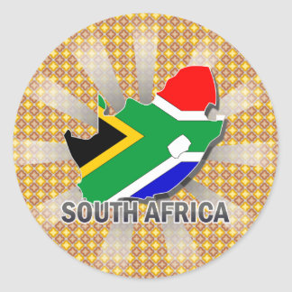 South Africa Flag Map 2.0 Classic Round Sticker