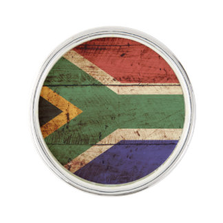 South Africa Flag on Old Wood Grain Lapel Pin