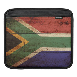 South Africa Flag on Old Wood Grain Sleeves For iPads
