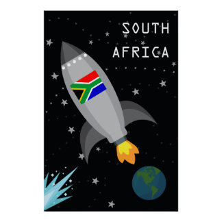 South Africa Flag Rocket Ship Poster