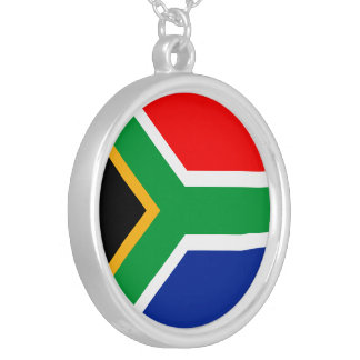 South Africa Flag Silver Plated Necklace