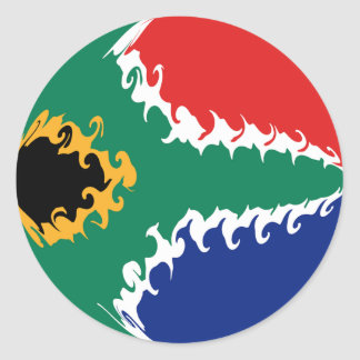 South Africa Gnarly Flag Classic Round Sticker
