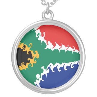 South Africa Gnarly Flag Round Pendant Necklace