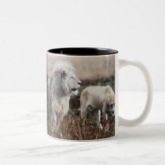 South Africa Lion as king Two-Tone Coffee Mug