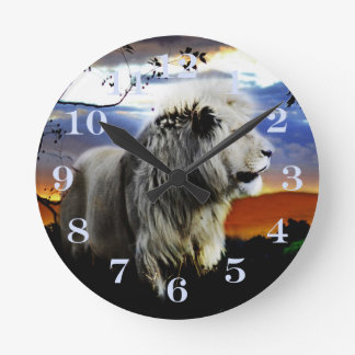 South Africa Lion in the Jungle Round Clock